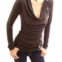 Patty Women Cowl Neck Button Embellished Ruched Blouse Top:Amazon:Clothing