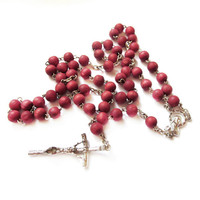 Vintage Red Rosewood Bead Rosary Necklace