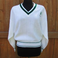 vintage white Ireland v neck cardigan. the Sweater Shop. sizd L. unisex. Fathers day gift. Irish sweater