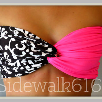 Pink and Black Bandeau Top Spandex Bandeau Bikini Bandeau Swimsuit