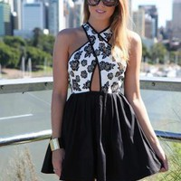 Black and White Floral Print Cutout Crossover Dress