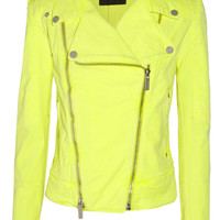 Karl Lagerfeld | Jovanna neon stretch-denim biker jacket | NET-A-PORTER.COM