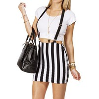 Black/White Striped Mini With Suspenders