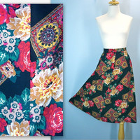 Vintage Floral Skirt / High Waist Black Flowers Skirt / m-l