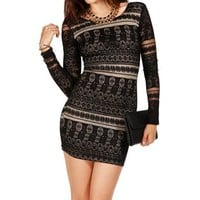 Black/Nude Trial Lace Long Sleeve Dress