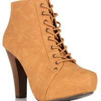 Camel Faux Leather Lace Up Hidden Platforms
