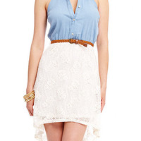 Chambray Top Lace High Low Dress