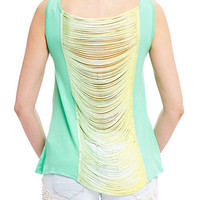 Ombre Fringe Back Tank Top