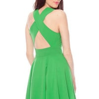 Twirl Around Cross Back Dress in Green :: tobi
