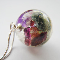 Gemstone Necklace Semi Precious Crystal Mineral Power Healing Nature Resin Globe Magical