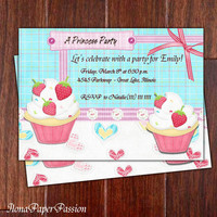 Cupcake Birthday Invitation - Cupcake Invites - Free Thank you card