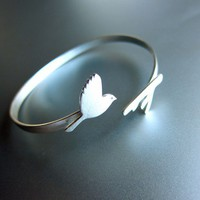 Flying Bird Silver Bracelet - Handmade Sterling Silver Bird Bracelet