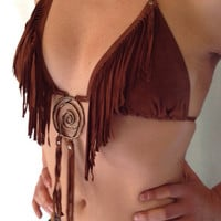 NATIVE AMERICAN Suede bikini bra, suede bra, native bra, fringed bra, Native American clothing