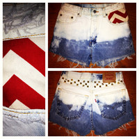 high waisted shorts ombré,chevron,studs