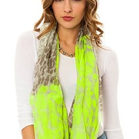 Accessories Boutique Infinity Scarf Animal Print in Neon Green