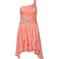 Coral Forever Unique dip hem gem stone dress