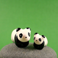 Mommy And Baby Panda Set  Hand Sculpted by MadeWithClayAndLove