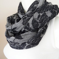 grey scarf, infinity scarf, flowers cotton scarf, neckwarmer