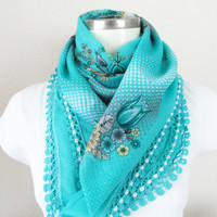 Turquoise scarf, Multicolor, authentic, romantic, Turkish Yemeni OYA Scarf, scarf, elegant, fashion, Floral