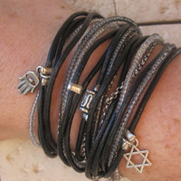 Boho Chic Black Leather Wrap Bracelet with Grey by DesignsbyNoa