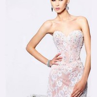 Sheath / Column Sweetheart Short / Mini Lace White Cocktail Dresses [10129225] - US$159.99 : DressKindom