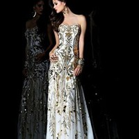 Sheath / Column Strapless Floor-length Sequined Chiffon White Military Ball Dresses [10129234] - US$189.99 : DressKindom