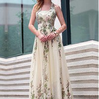 [141.59] In Stock Stunning Diamond Tulle Jacquard A-line V- Neckline Floor-length  Floral Evening Dress - Dressilyme.com