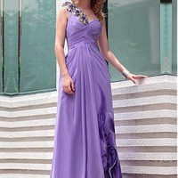 [167.99] In Stock Gorgeous Stretch Velvet  A-line One Shoulder Neckline Floor-length Floral Evening Dress - Dressilyme.com