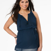 Sleeveless Tie Detail Maternity Blouse