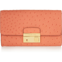 Michael Kors | Gia ostrich-effect leather clutch | NET-A-PORTER.COM