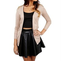 Taupe Open Cardigan Studded Shoulders