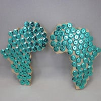 Sequin Turquoise Africa Wood Earrings Set On Silver Post, Africa Shaped Earrings, Turquoise Earrings, Sequin Wood Earrings