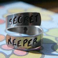 hp INSPIRED secret kepper   twist aluminum handstamped  ring