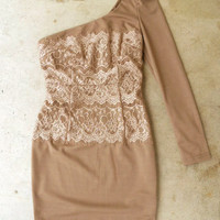 Toffee and Lace Dress [3889] - $42.00 : Vintage Inspired Clothing & Affordable Summer Frocks, deloom | Modern. Vintage. Crafted.
