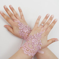 Free Ship, Wedding Gloves, pink lace gloves, Fingerless Gloves, bride, bridal gloves, Bridal accessories