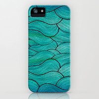 Sea Waves iPhone & iPod Case by Pom Graphic Design