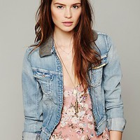 Free People Embellished Collar Denim Jacket