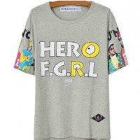 Crew Neck T-shirt with 'HERO F.G.R.L' Print