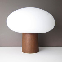 Laurel Mushroom Lamp Wood Base - Mid-Century Danish Modern Table Accent Lamp - Teak, Frosted Glass