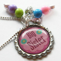 Big Sister Necklace, Girls Necklace, Girls Bottle Cap Jewelry