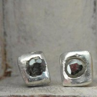 One of a kind-rose cut-genuine black diamond stud earrings-p