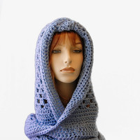Hooded Pixie Scarf Wrap, Crochet Fashion Wrap