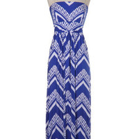 Aztec Treasure Maxi Dress - Blue + White -  $58.00 | Daily Chic Dresses | International Shipping