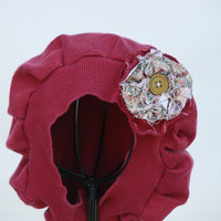 Dark Pink Cotton - Edwardian Downton Abbey Inspired Tam or Hat - Upcycle - Free Shipping
