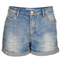 MOTO Dirty Tint Boy Shorts - Denim  - Clothing