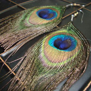 Peacock feather earring- Just the feather please earrings | jinx1764 - Jewelry on ArtFire