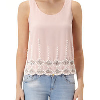 Pink embellished hem top - Tops  - Clothing