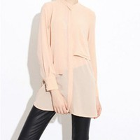 Nude Boyfriend Chiffon Blouses with Single Patch Pocket