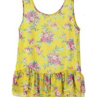 Yellow Floral Cluster Chiffon Tanks with Ruffle Hem