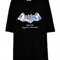 Black T-shirt with Flower Bat Print